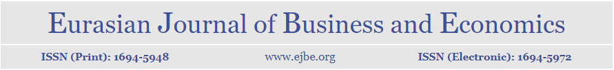 Eurasian Journal of Business and Economics (EJBE) is a refereed academic journal, publishing research articles in the field of business administration, economics, and related fields.   The main objective of EJBE is to provide an intellectual platform for Eurasian scholars, a platform in which research in alternative paradigms for business and economic inquiry could be presented and debated. EJBE also aims to promote interdisciplinary studies over the issues of theoretical, practical, and historical importance in dealing with problems in business and economics and become the leading business and economics journal in Eurasia.  EJBE welcomes not only Eurasian authors, but also authors from all over the world, who do research on Eurasia. EJBE promotes cooperation and communication among the academics and practitioners interested in Eurasian business and economics.
